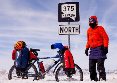 Biking 375 Nevada in winter