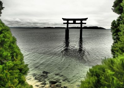 Shinto Shrine in water coast Japan