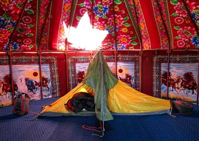 Sleeping in a yurt